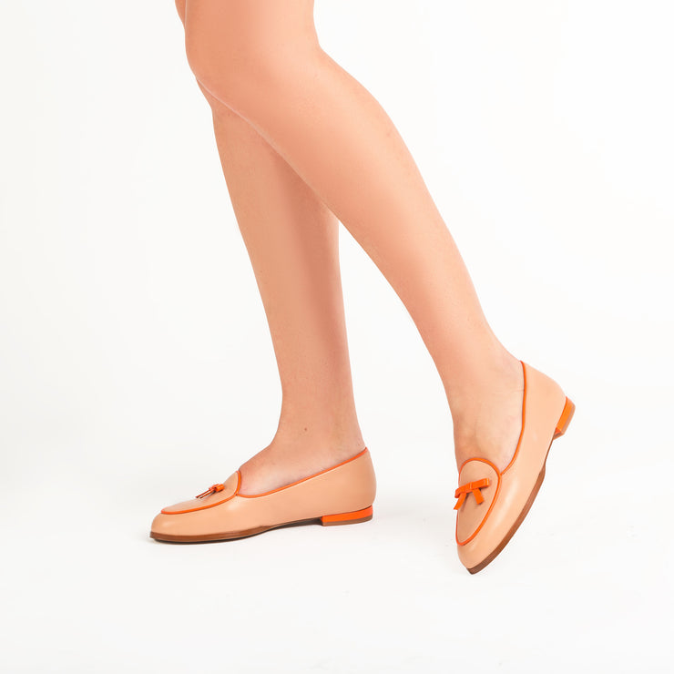 Jon Josef Belgica Loafer in Nude Leather/Orange