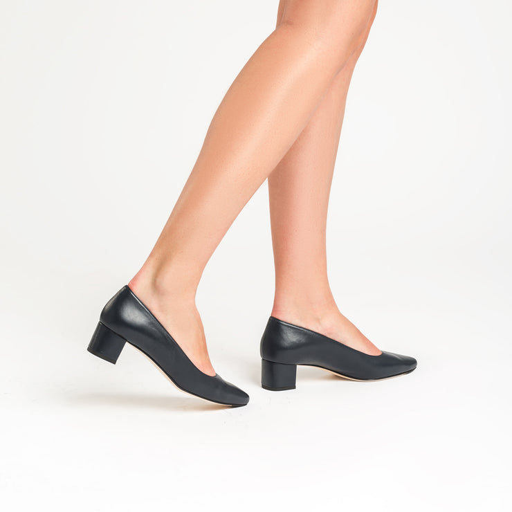 Jon Josef Boston Low Block Heel in Navy Leather
