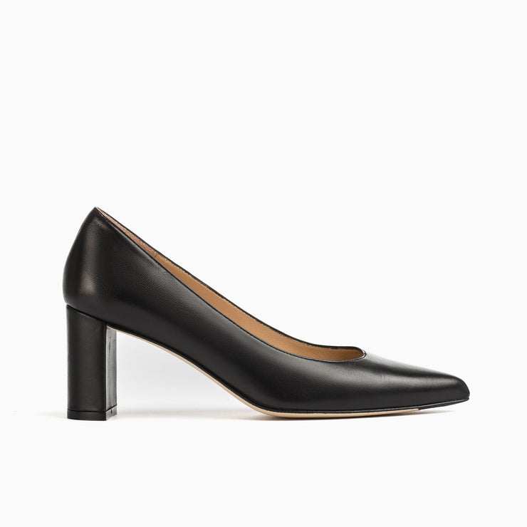Jon Josef Chana Mid Heel Block Pump in Black Leather