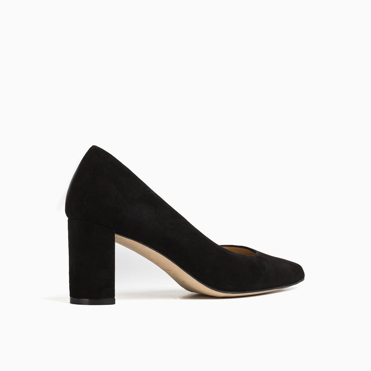 Jon Josef Chana Mid Heel Block Pump in Black Suede