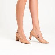 Jon Josef Chana Mid Heel Block Pump in Nude Leather