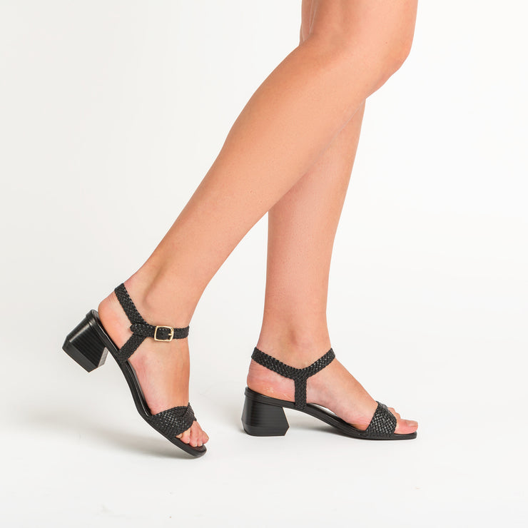 Jon Josef Duna Woven Block Heel Sandal in Black Leather