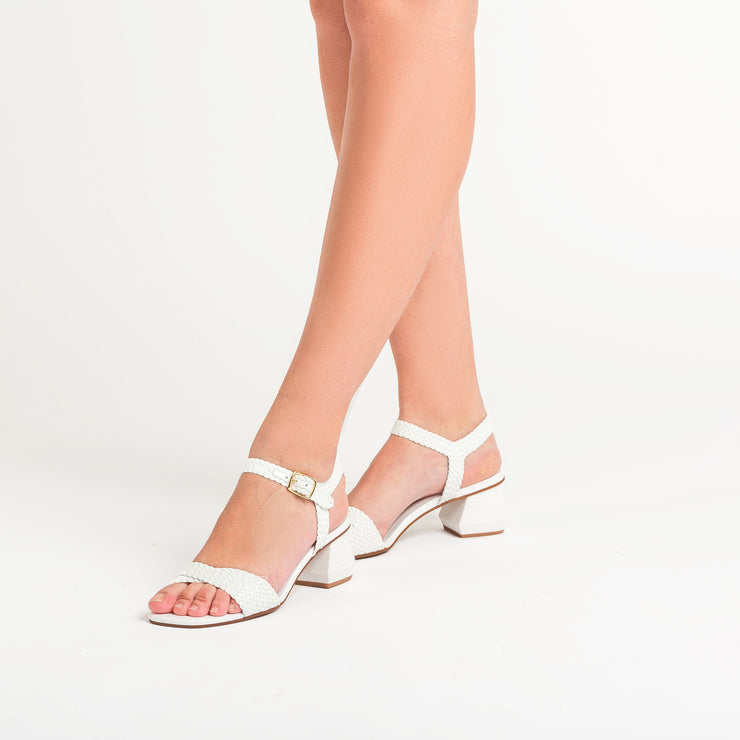 Jon Josef Duna Woven Block Heel Sandal in White Leather