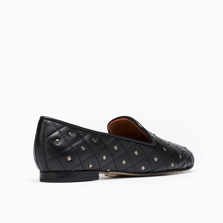 Jon Josef Gatsby Studded Flat in Black Leather