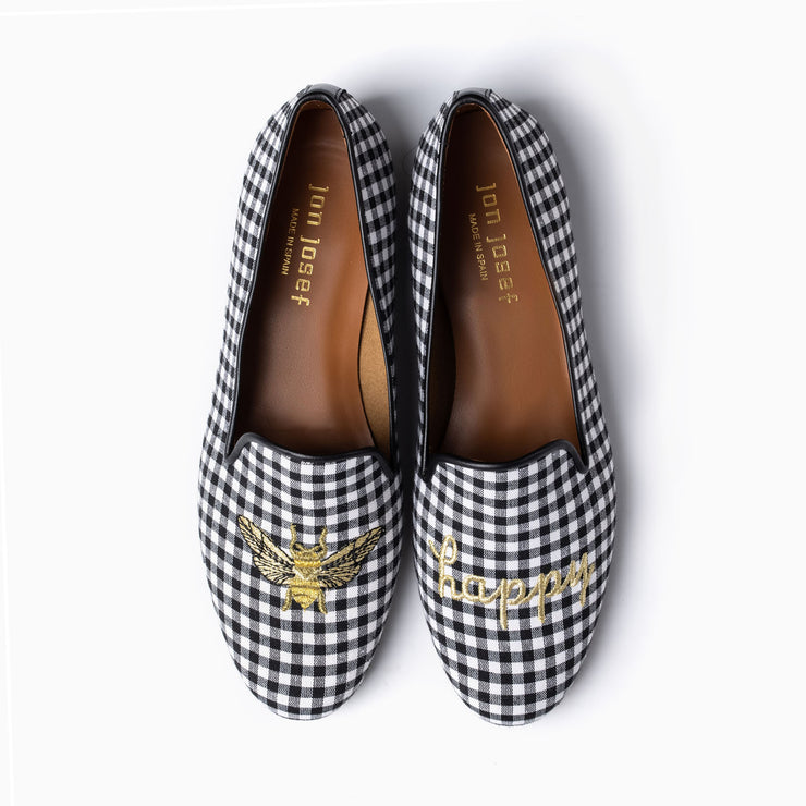 Jon Josef Gatsby Bee Happy Flat in Black-White Gingham
