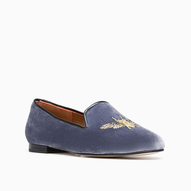 Jon Josef Gatsby Bee Happy Flat in Grey Velvet