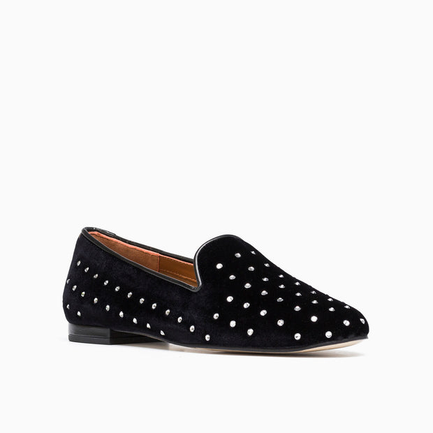 Jon Josef GATSBY DIAMONDS FLAT in Black Velvet