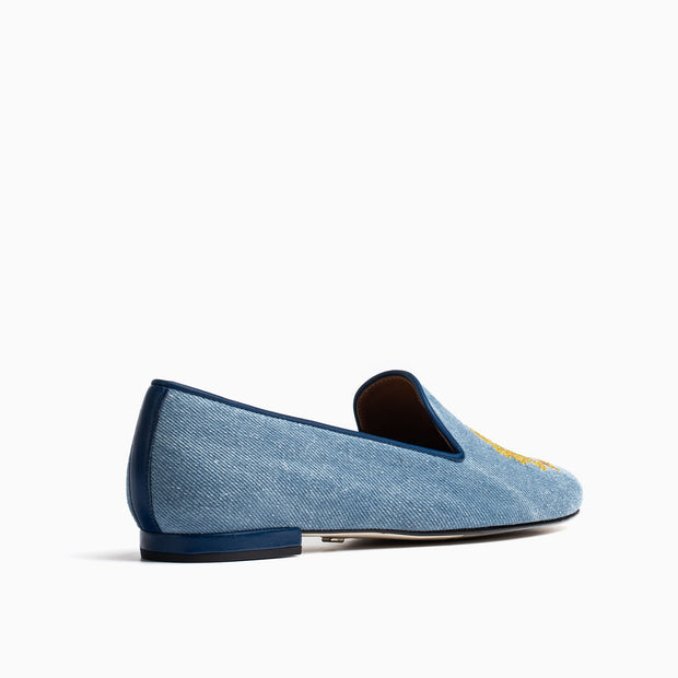 Jon Josef Gatsby Emblem Flat in Light Denim