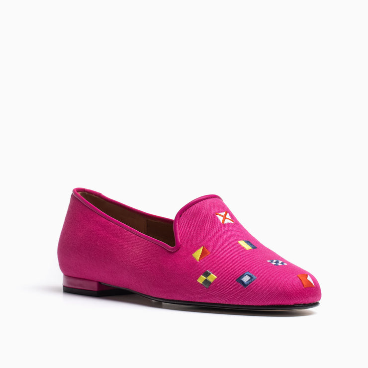 Jon Josef Gatsby Nautical Flat in Fuchsia Linen