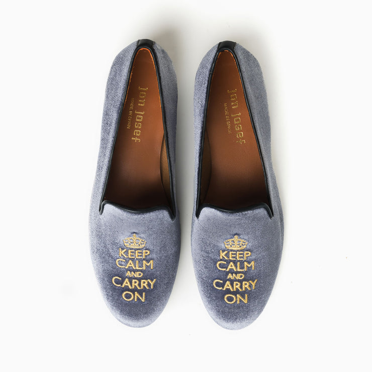 Jon Josef Gatsby Keep Calm Flat in Grey Velvet