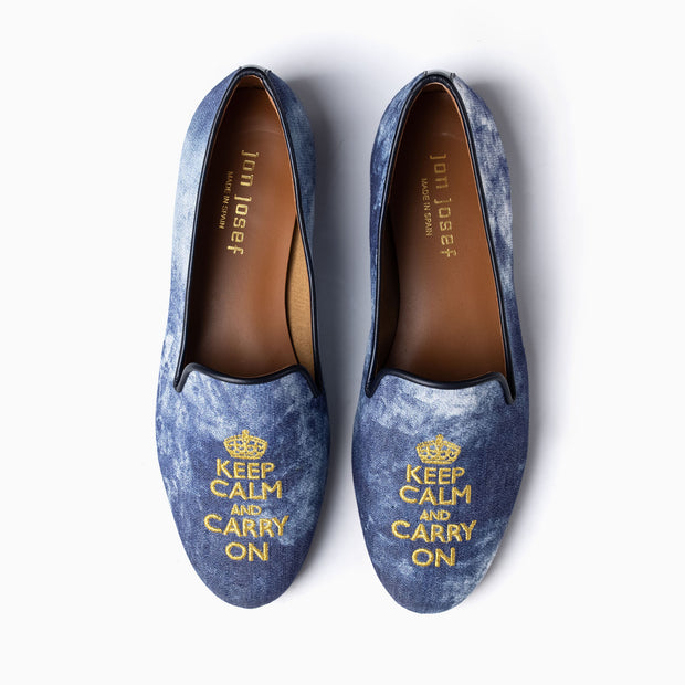 Jon Josef Gatsby Keep Calm Flat in Blue Tie-Dye