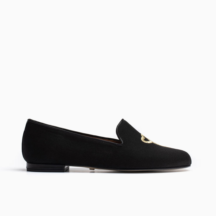 Jon Josef Gatsby Key Heart Flat in Black Linen
