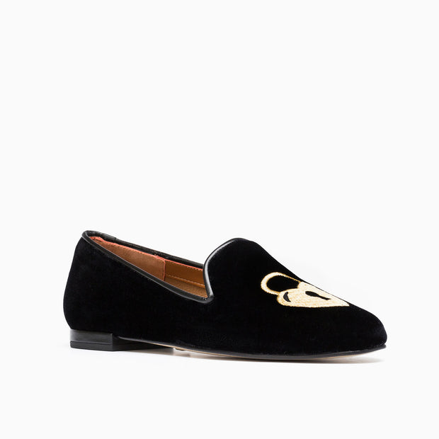 Jon Josef Gatsby Key-Heart Flat in Black Velvet