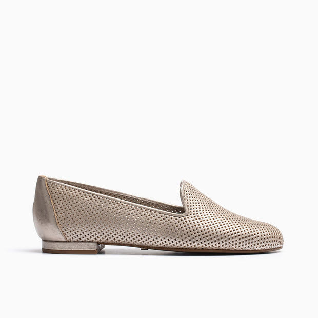 Jon Josef Gatsby Perforated Flat in Galaxy Beige Leather