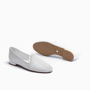 Jon Josef Gatsby Perforated Flat in White Leather