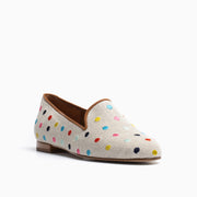 Jon Josef Gatsby Polka Dot Flat in Natural Linen-Multi