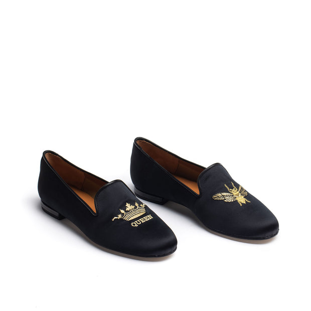 Jon Josef Gatsby Queen Bee Flat in Black Satin