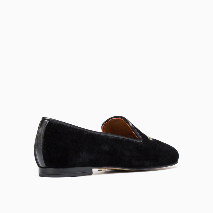 Jon Josef Gatsby Queen Bee Flats in Black Velvet