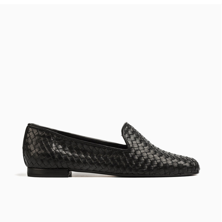 Jon Josef Gatsby Woven Flat in Black Leather