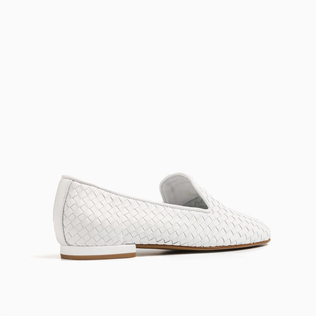 Jon Josef Gatsby Woven Flat in White Leather