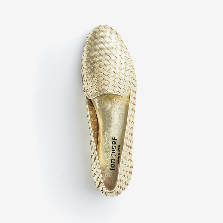Jon Josef Gatsby Woven Flat in Gold Leather