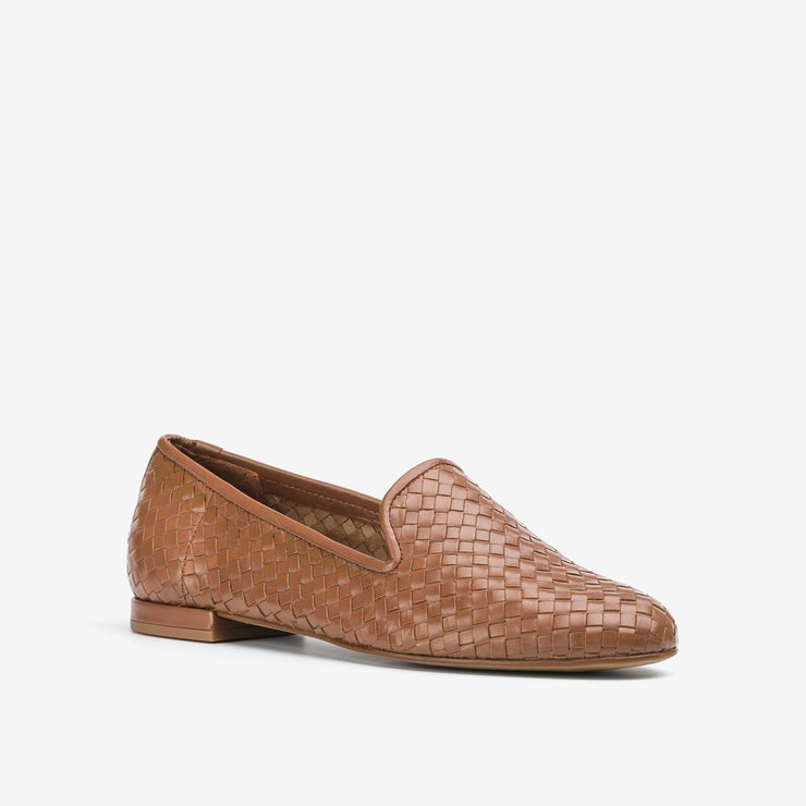 Jon Josef Gatsby Woven Flat in Natural Leather