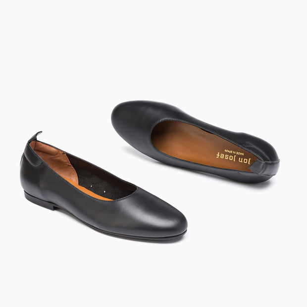 Jon Josef Gant Ballerina Flat in Black Leather