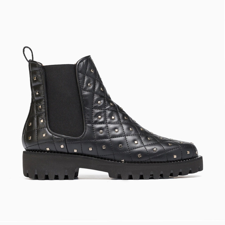 Jon Josef Gia-Stud-Quilted Chelsea Boot in Black Leather