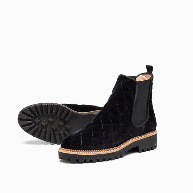 Jon Josef Gia-Quilted Chelsea Boot in Black Velvet