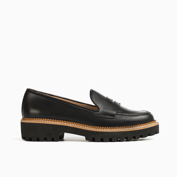 Jon Josef Gogo-Penny Lug Shoe in Black Calf Leather