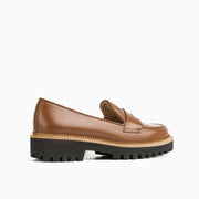 Jon Josef Gogo-Penny Lug Shoe in Brown Luggage Leather