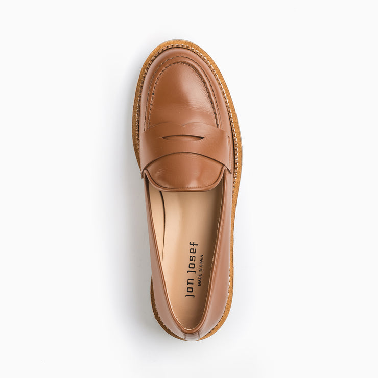 Jon Josef Gogo-Penny Loafer in Brown Luggage Leather