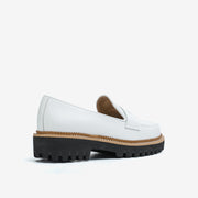 Jon Josef Gogo-Penny Lug Shoe in White Calf Leather