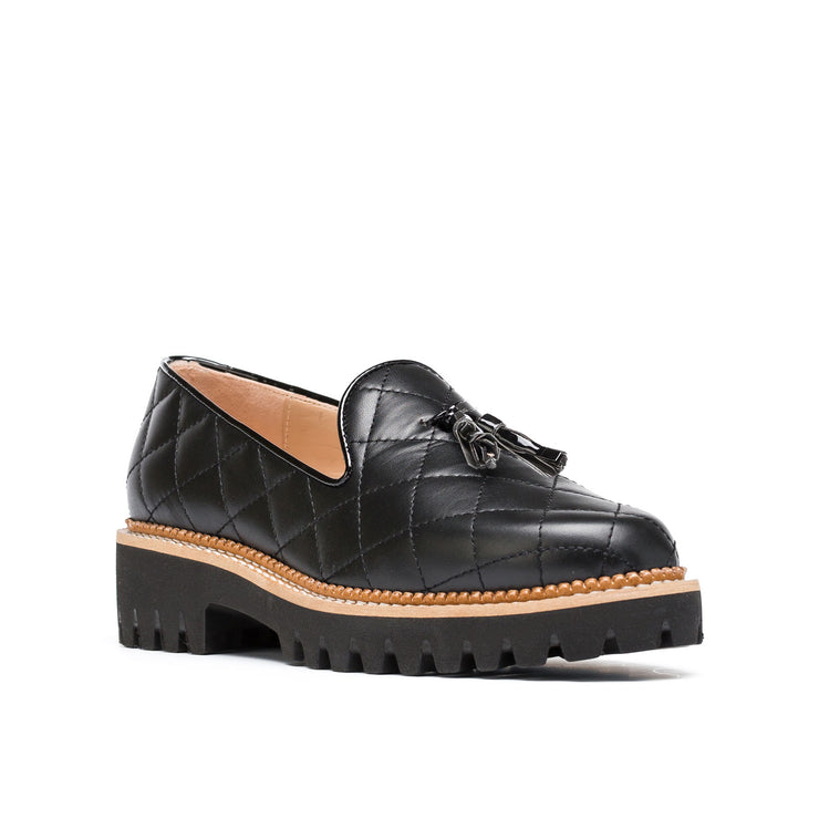 Jon Josef Gogo-Quilted Lug Shoe in Black Leather