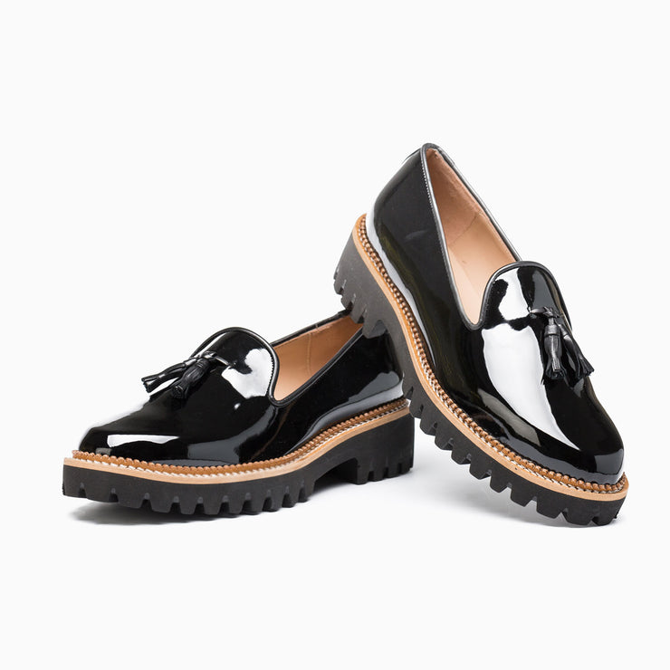 Jon Josef Gogo Lug Shoe in Black Patent