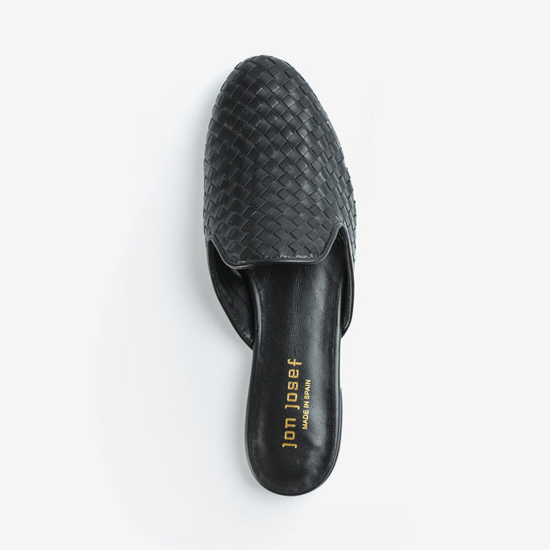 Jon Josef Great Woven Mule in Black Leather