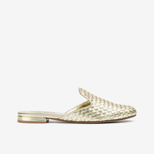 Jon Josef Great Woven Mule in Gold Leather