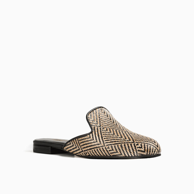 Jon Josef Great Raffia Mule in Black/Natural Raffia