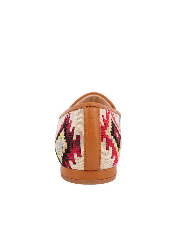 Women's  Tan Aztec Loafer Back 2