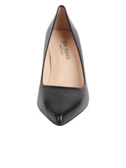 Ladies Black Block Heel Shoe Front 4