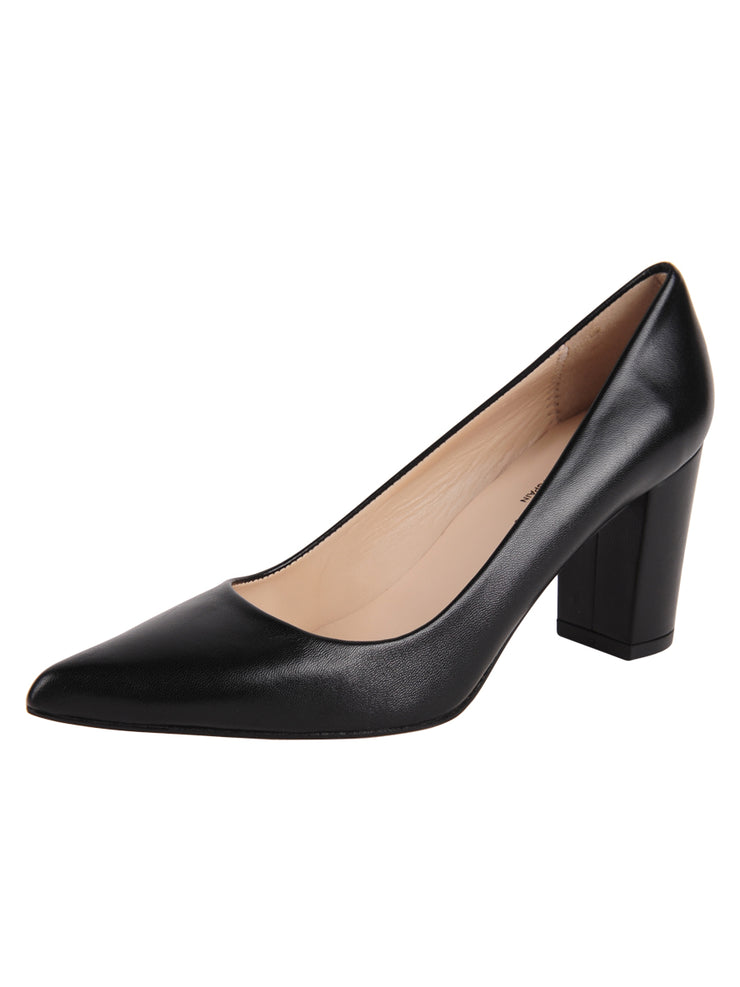 Ladies Black Block Heel Shoe Full