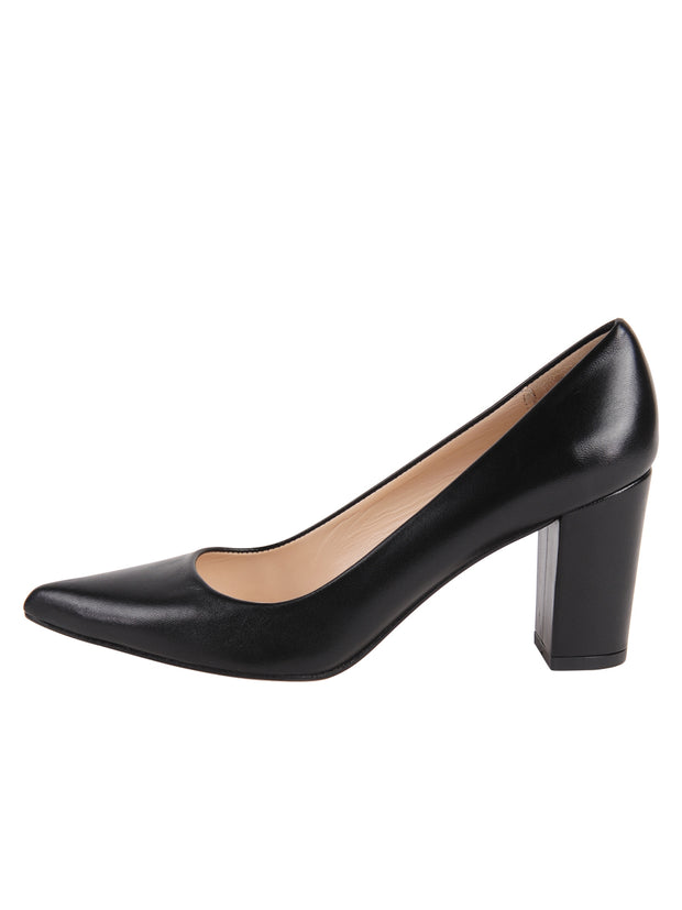 Ladies Black Block Heel Shoe Side 7