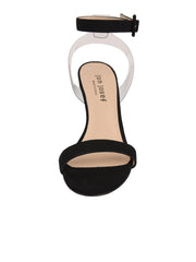 Women's Suede Black Strap Sandal High Heel Front 4
