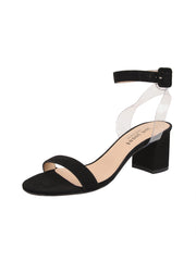 Women's Suede Black Strap Sandal Low Heel Full