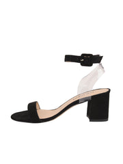Women's Suede Black Strap Sandal Low Heel Side 6