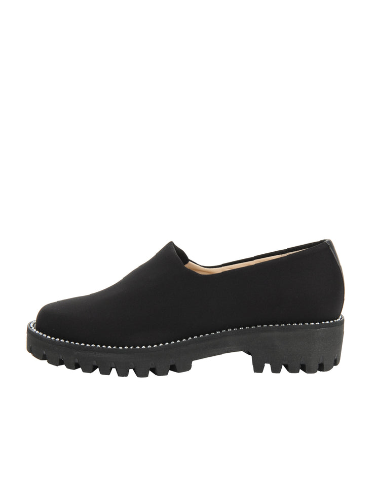 Black Elastic Slip On Shoe Side 6