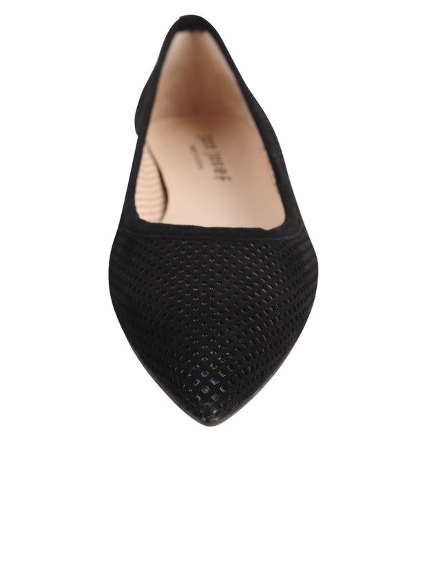 Black Suede Pointed Toe Summer Flat Front 4
