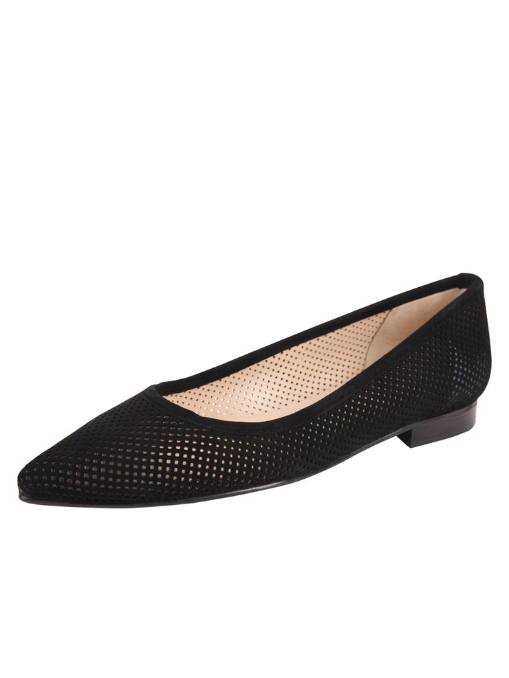 Black Suede Pointed Toe Summer Flat Full