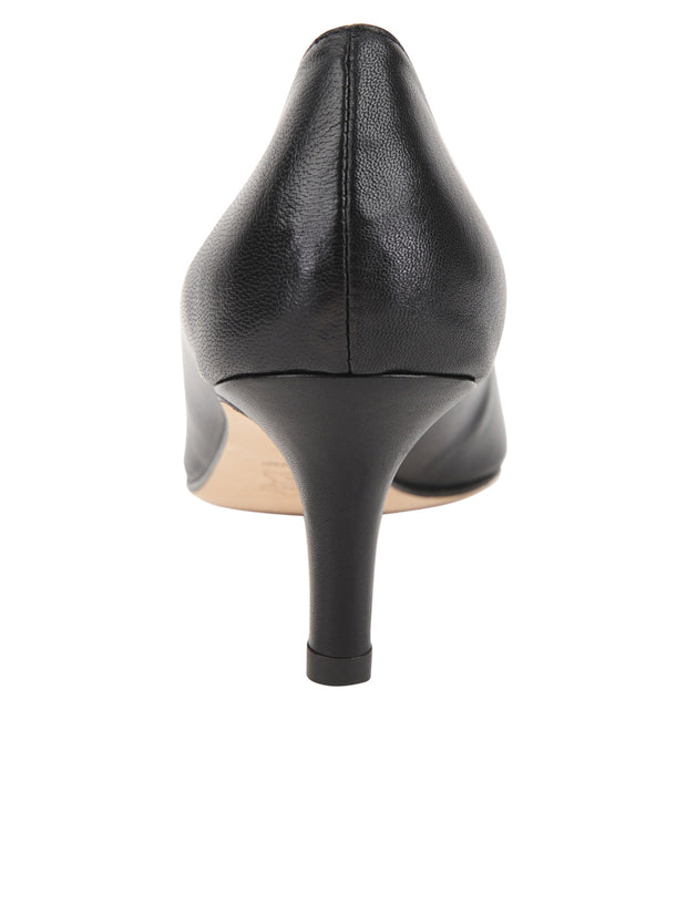 Black  Low Heel Pointed Toe Pump Back 2