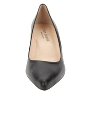 Black Low Heel Pointed Toe Pump Front  4